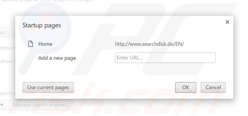 Cambia la tua homepage searchdisk.de in Google Chrome