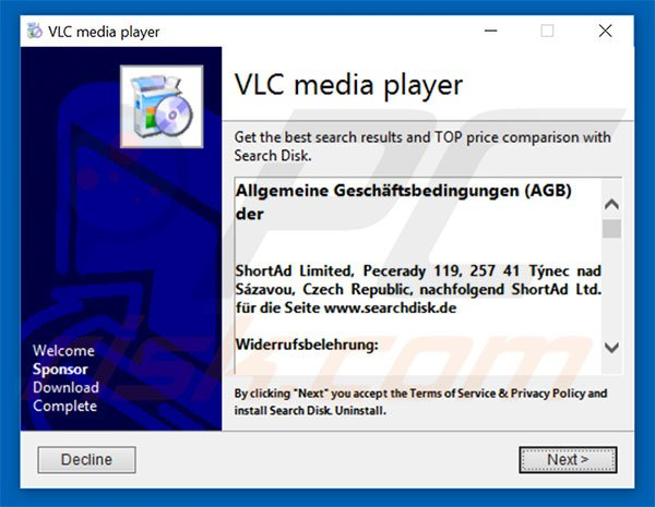 Deceptive free software installer used to promote Search Disk browser hijacker