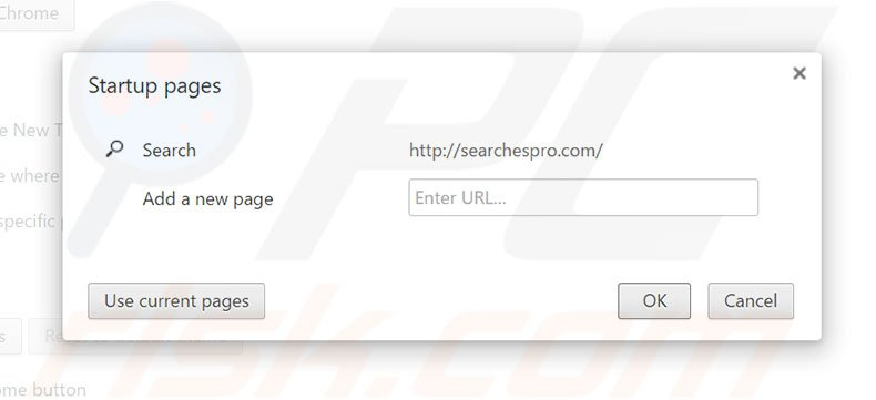 Cambia la tua homepage searchespro.com in Google Chrome