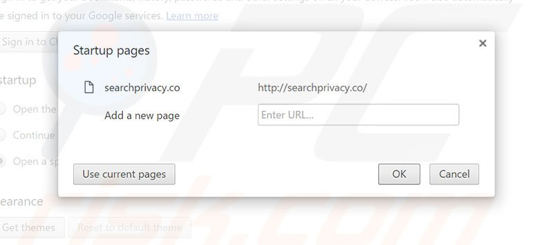 Removing searchprivacy.co from Google Chrome homepage