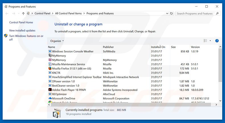 CRITICAL ALERT FROM WINDOWS adware uninstall via Control Panel