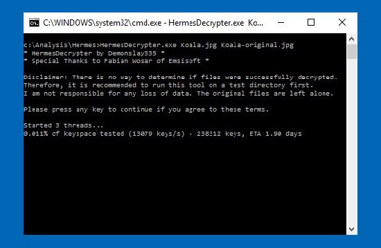 hermes ransomware decrypter
