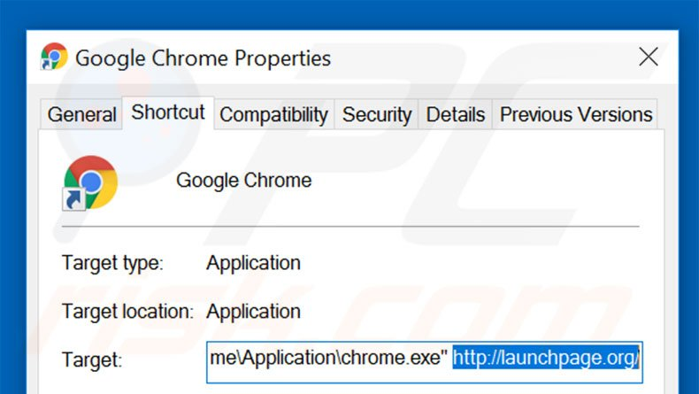 Removing launchpage.org from Google Chrome shortcut target step 2