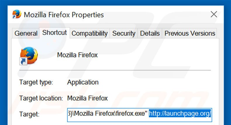 Removing launchpage.org from Mozilla Firefox shortcut target step 2