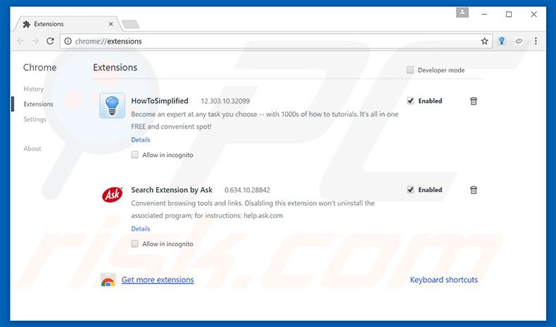 Removing Microsoft Warning Alert ads from Google Chrome step 2