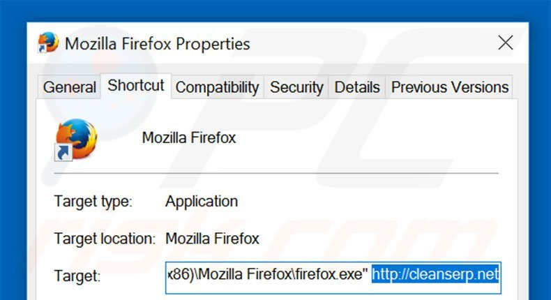 Removing cleanserp.net from Mozilla Firefox shortcut target step 2
