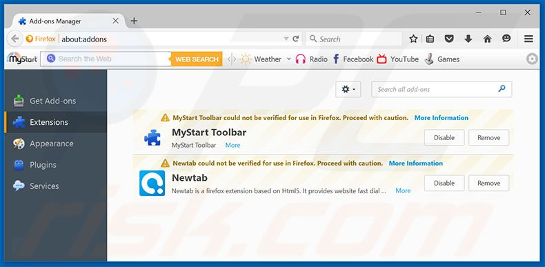 Removing Windows Defender Alert ads from Mozilla Firefox step 2