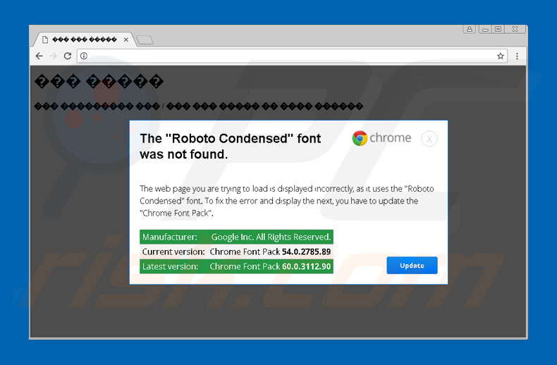The 'Roboto Condensed' font was not found scam