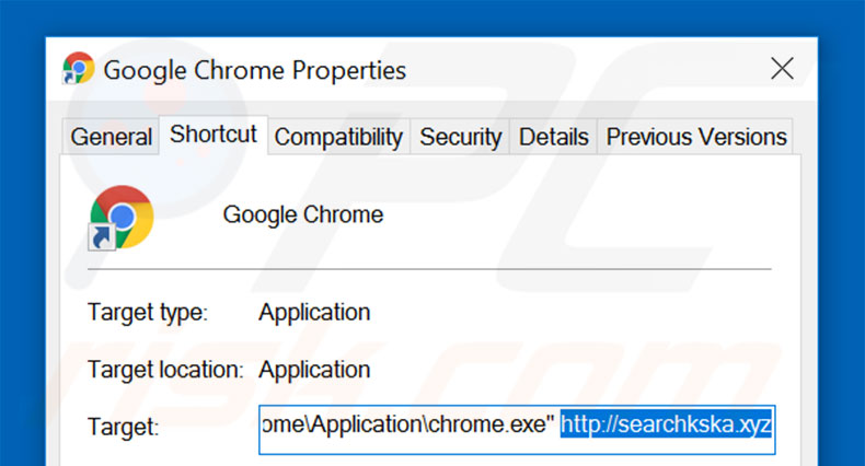 Removing searchkska.xyz from Google Chrome shortcut target step 2