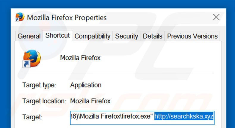 Removing searchkska.xyz from Mozilla Firefox shortcut target step 2