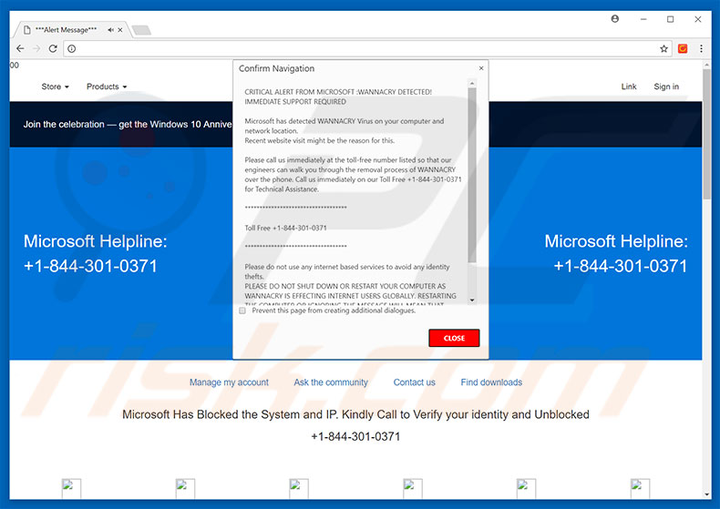 CRITICAL ALERT FROM MICROSOFT adware