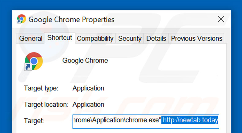 Removing newtab.today from Google Chrome shortcut target step 2