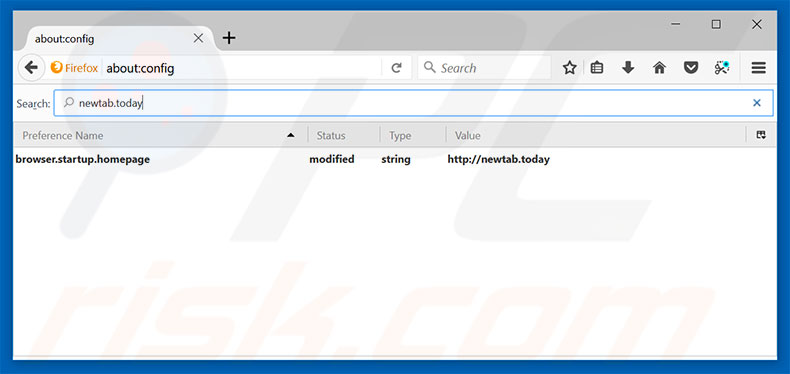 Removing newtab.today from Mozilla Firefox default search engine