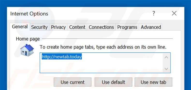 Removing newtab.today from Internet Explorer homepage