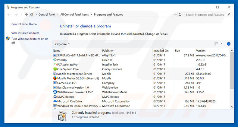 newtab.today browser hijacker uninstall via Control Panel