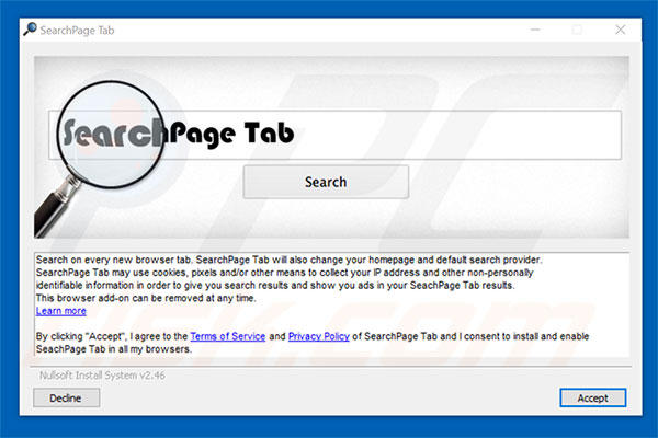 Official SearchPage Tab browser hijacker installation setup