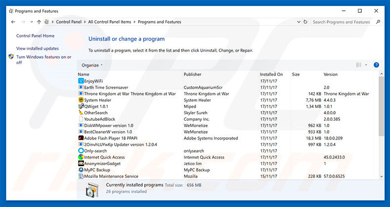 search.xyz browser hijacker uninstall via Control Panel