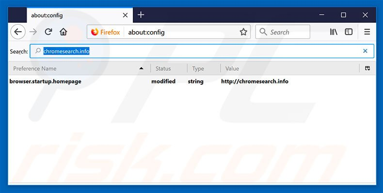 Removing chromesearch.info from Mozilla Firefox default search engine