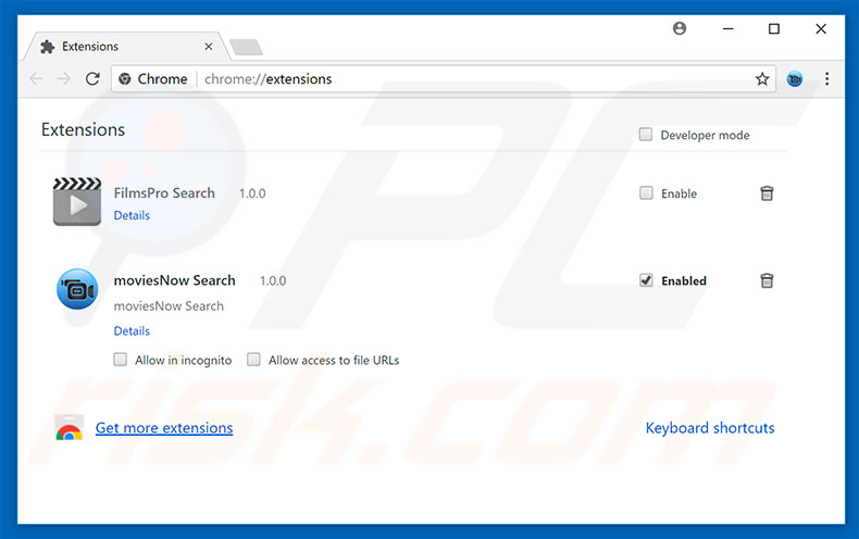 Removing chromesearch.online related Google Chrome extensions