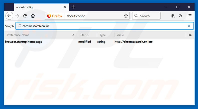 Removing chromesearch.online from Mozilla Firefox default search engine