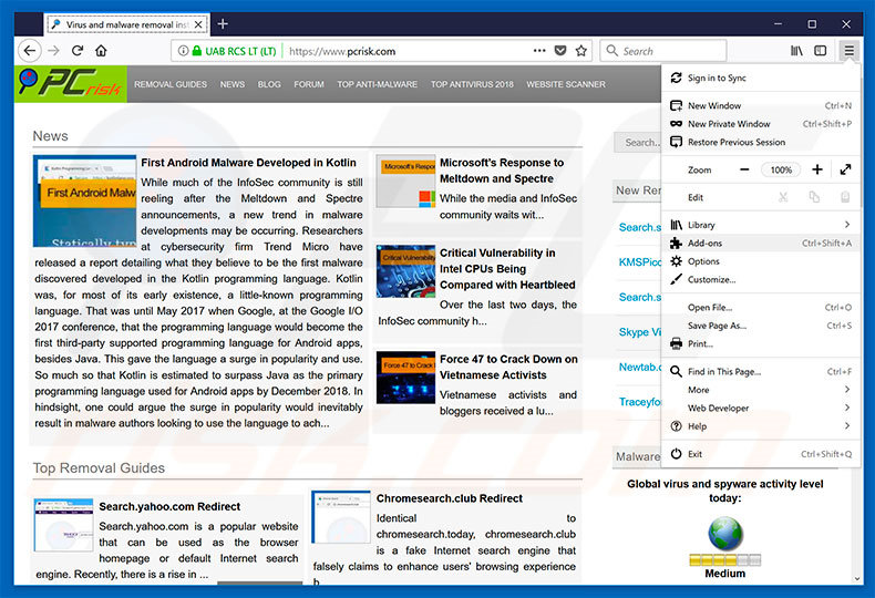 Removing CloudFront ads from Mozilla Firefox step 1