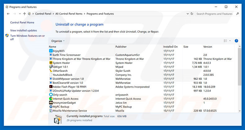 Adwind adware uninstall via Control Panel