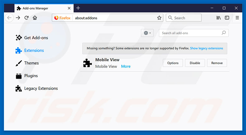 Removing FormBook ads from Mozilla Firefox step 2