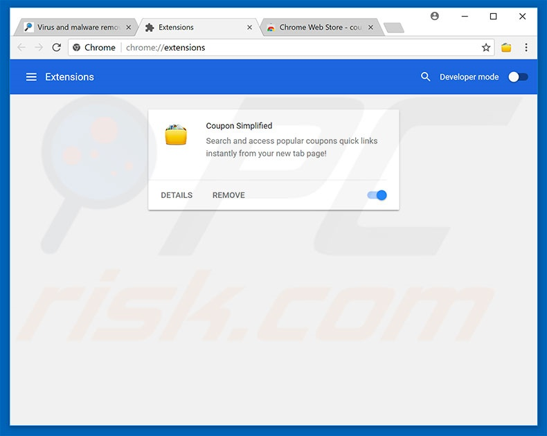 Removing WhiteClick ads from Google Chrome step 2