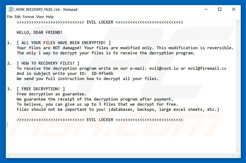 Evil Locker decrypt instructions