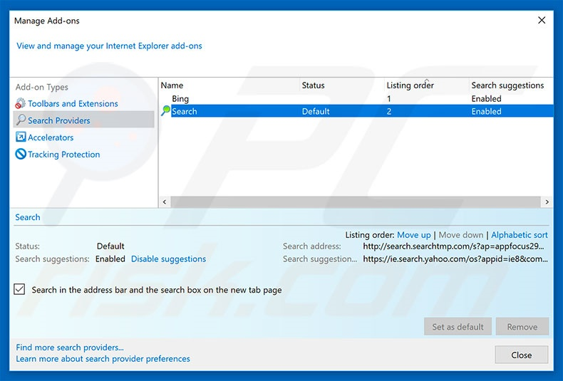 Removing search323892.xyz from Internet Explorer default search engine