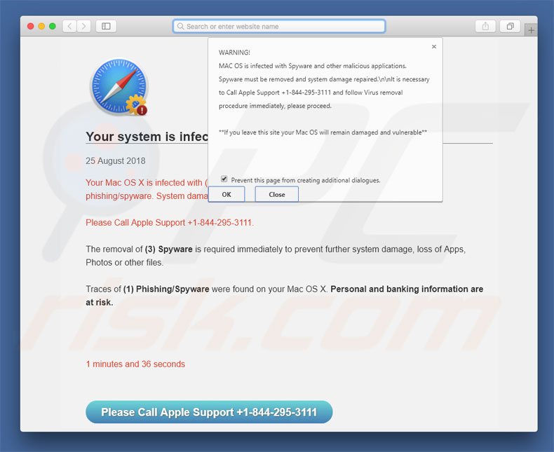 MAC OS Is Infected With Spyware scam
