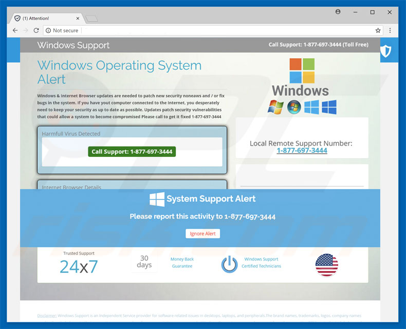 Windows Operating System Alert scam