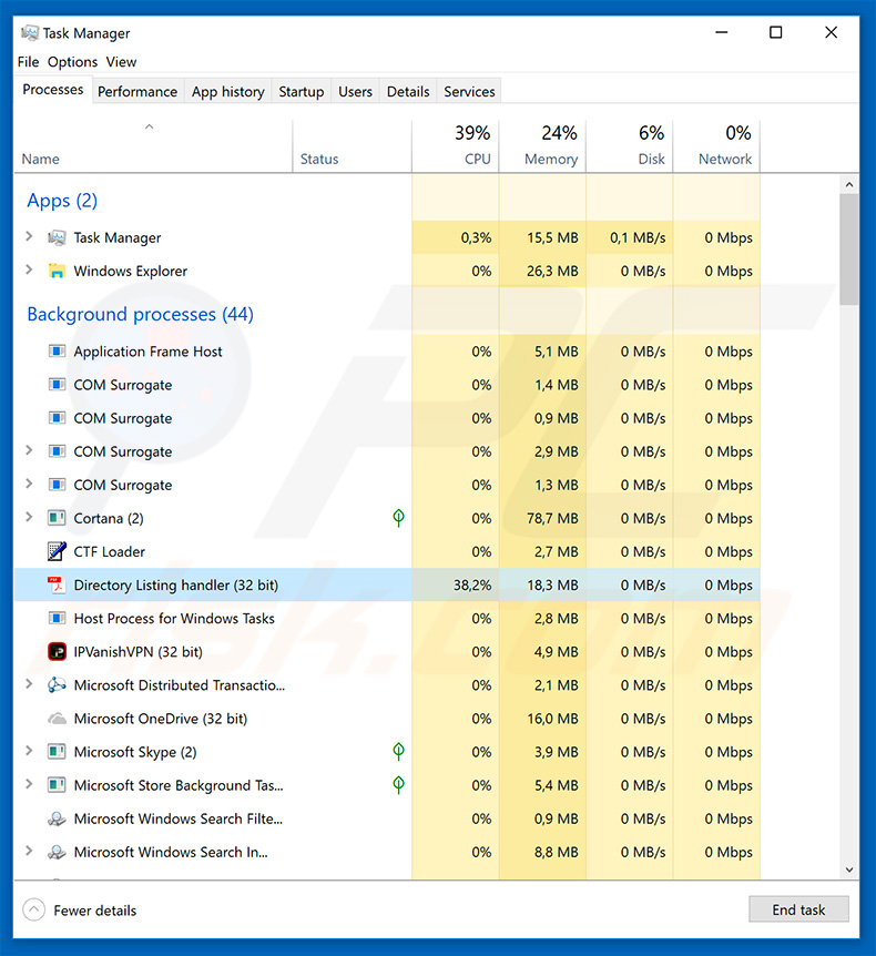 Hawkeye keylogger in the Task Manager