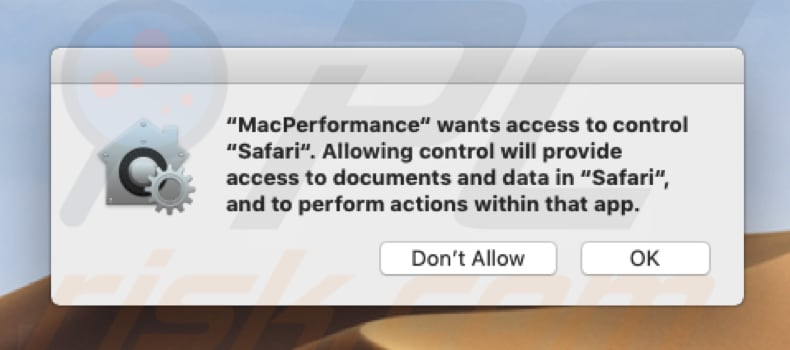 MacPerformance pop-up asking for access to control Safari