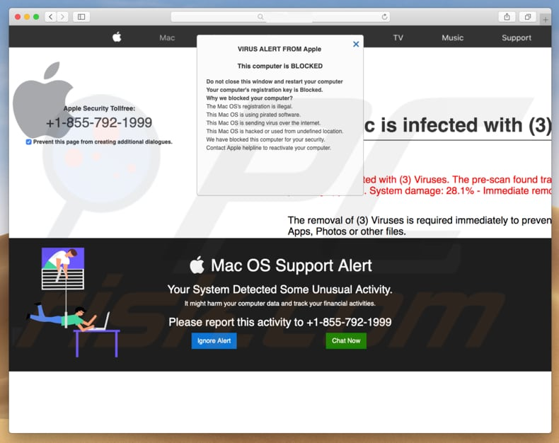 Mac OS Support Alert scam