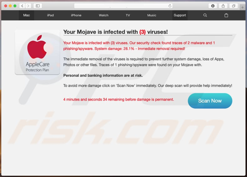 Your Mojave Is Infected With (3) Viruses! scam