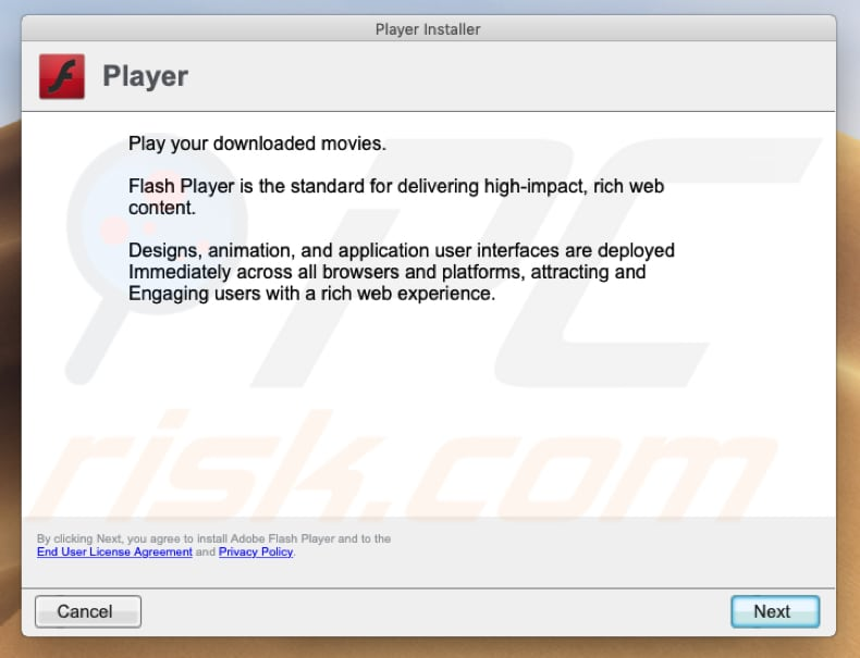 another fake Flash Player installer
