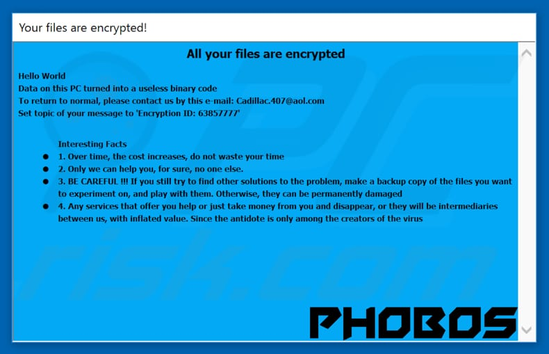 another variant of Phobos ransomware pop-up window