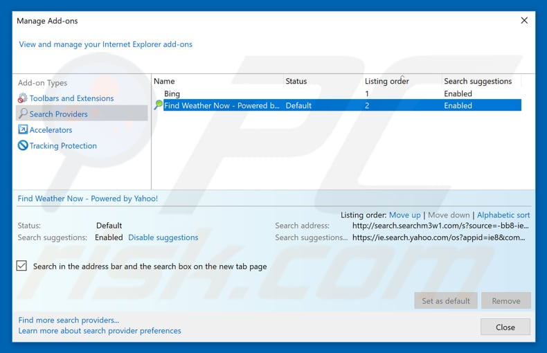 Removing search.searchm3w1.com from Internet Explorer default search engine