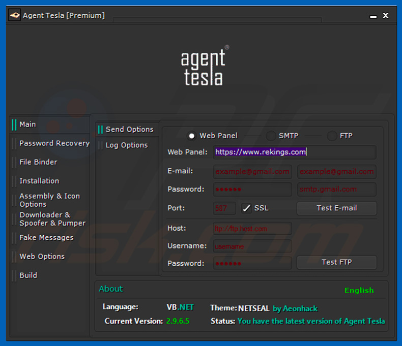Agent Tesla RAT dashboard