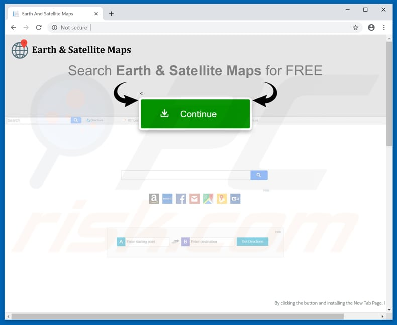 Website used to promote Earth And Satellite Maps browser hijacker