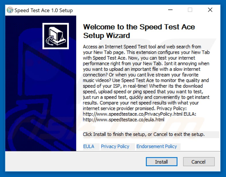 Official Speed Test Ace browser hijacker installation setup