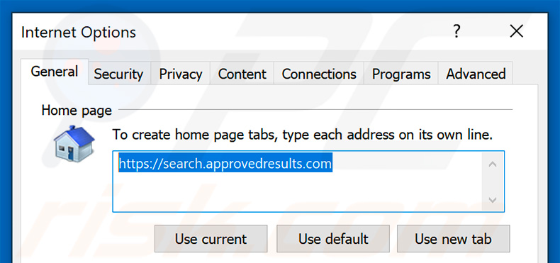 Removing approvedresults.com from Internet Explorer homepage