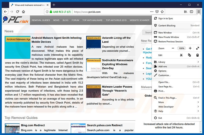 Removing news-easy[.]com ads from Mozilla Firefox step 1