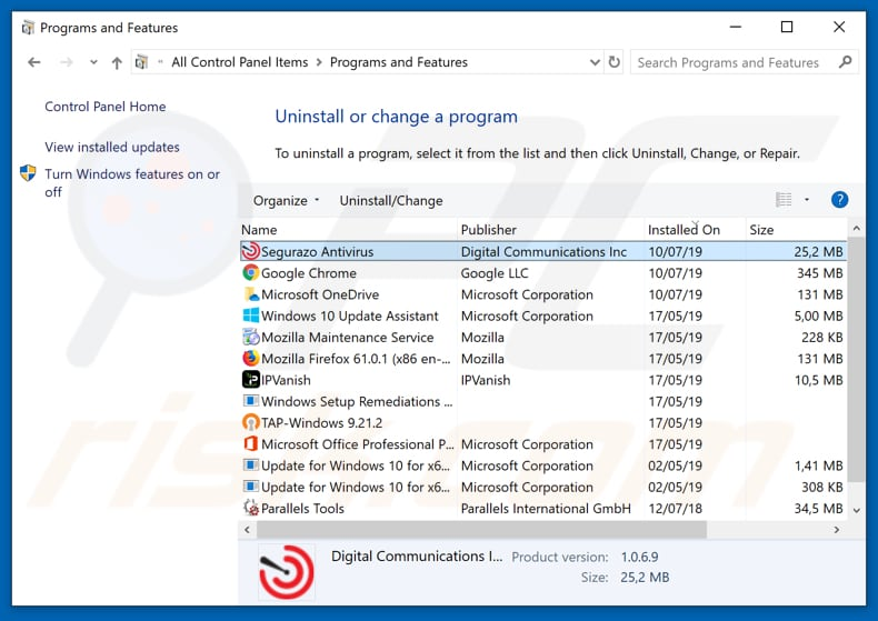 Segurazo adware uninstall via Control Panel