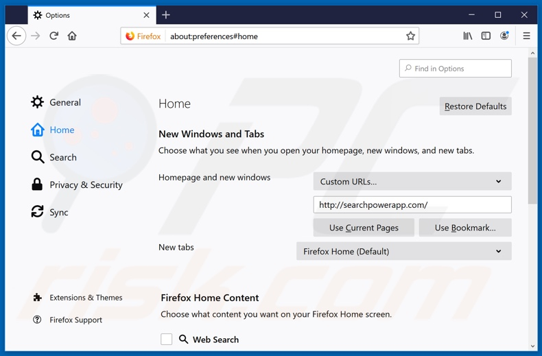 Removing searchpowerapp.com from Mozilla Firefox homepage