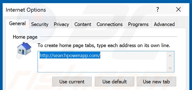 Removing searchpowerapp.com from Internet Explorer homepage