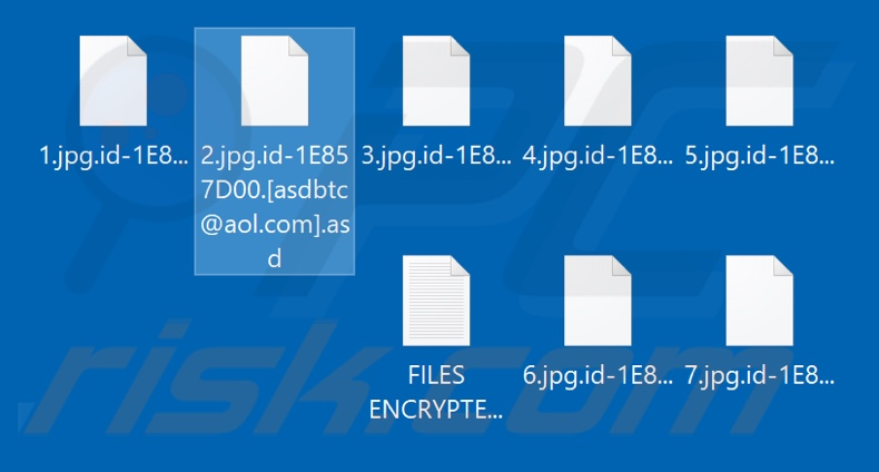 Files encrypted by Asd ransomware (.asd extension)
