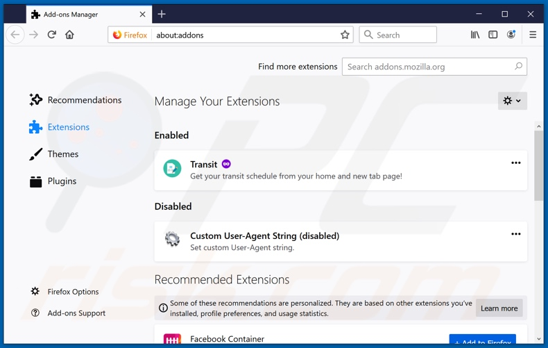 Removing search.landslidesearch.com related Mozilla Firefox extensions