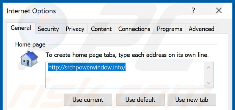 Removing srchpowerwindow.info from Internet Explorer homepage